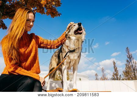 a girl in an autumn park sits on a bench with her dog
