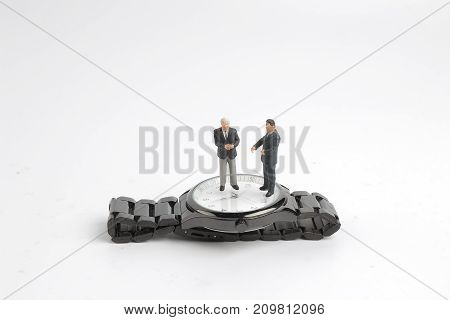 The Business Man Figure Standing On Watch
