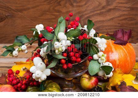 Thanksgiving Snowberry, Rowan Berries, Pumpkin, Apples Table Centerpiece
