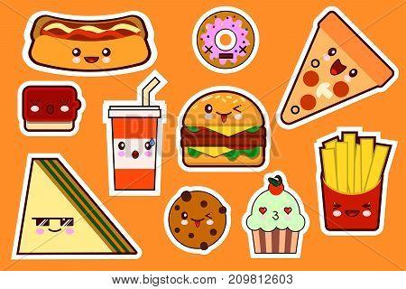 Fastfood fashion, cartoon kawaii stickers illustrations icon set. gamburger, pizza, sandwich, cake Flat design