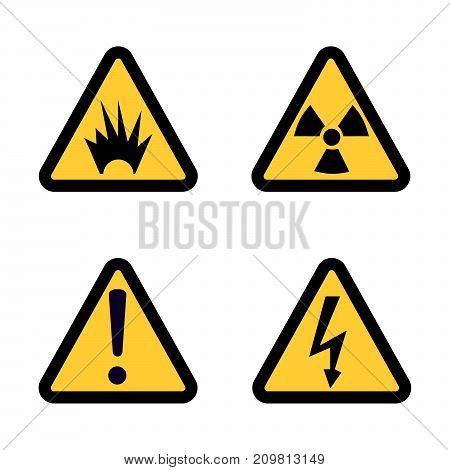 Hazard warning sign icon set on white background Flat design  Illustration