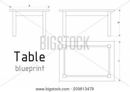 Table furniture wireframe blueprint with dimensions. Linear outline pedestal vector illustration.
