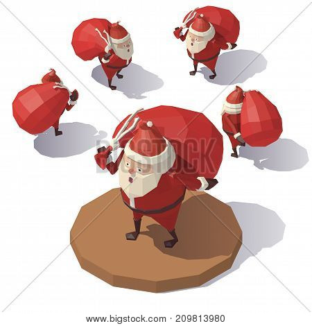 Vector isometric low poly Santa Claus with red gift bag. Santa Claus from different angles.