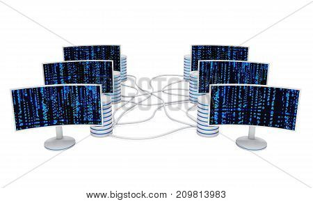 Block chain. Datacenter server net. White Curved LCD tv screens server hard disks and abstract blue matrix binary computer code. 3d render isolated on white.