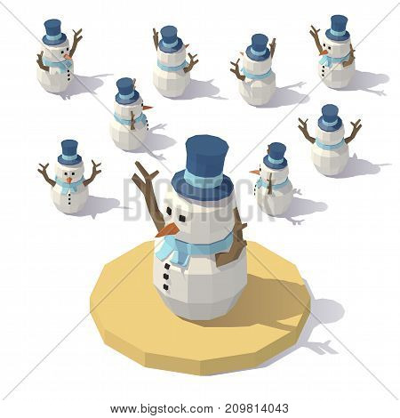 Vector isometric low poly Christmas snowman. Snowman man from different angles.