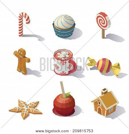 Isometric Christmas sweets and pastries isolated on white background.
