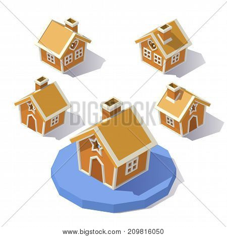 Vector isometric low poly Christmas Gingerbread House. Gingerbread House stocking from different angles.