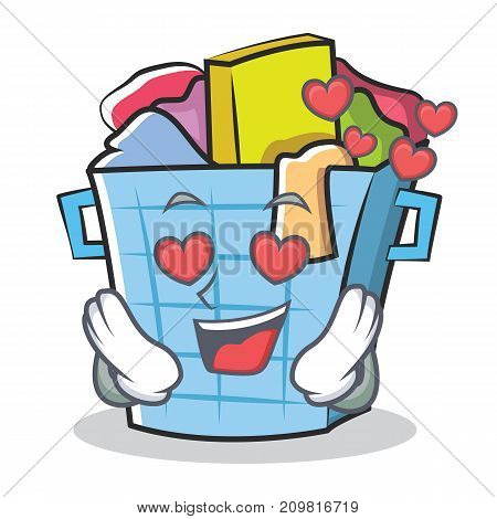 In love laundry basket character cartoon vector illustration