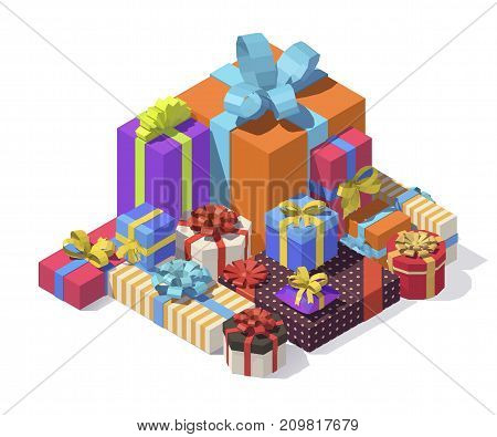 Vector isometric low poly gift boxes. Gift boxes with ribbon, bow set isolated on background. Big pile of presents, surprises, prizes. Shopping for xmas. Christmas, birthday, holidays concept.