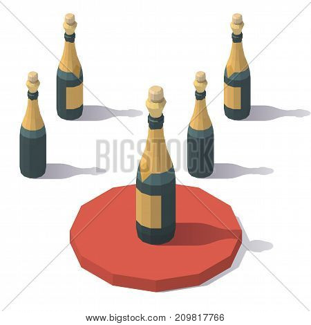 Vector isometric low poly a bottle of sparkling wine. A bottle of sparkling wine from different angles.