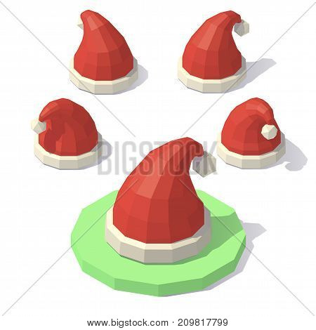 Vector isometric low poly Christmas hat. Christmas hat from different angles.