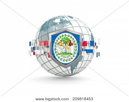 Globe And Shield With Flag Of Belize Isolated On White