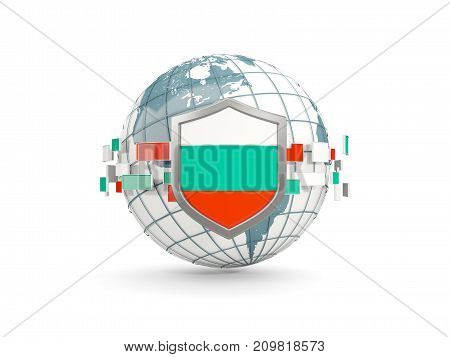Globe And Shield With Flag Of Bulgaria Isolated On White