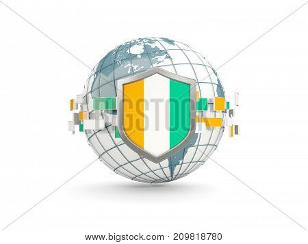 Globe And Shield With Flag Of Cote D Ivoire Isolated On White