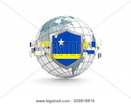 Globe And Shield With Flag Of Curacao Isolated On White