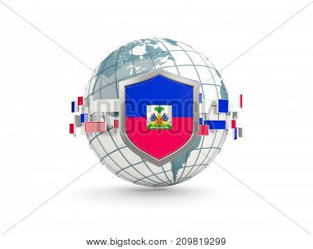 Globe And Shield With Flag Of Haiti Isolated On White