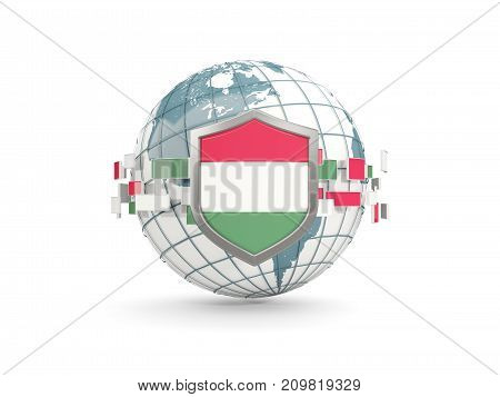 Globe And Shield With Flag Of Hungary Isolated On White