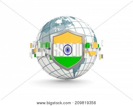 Globe And Shield With Flag Of India Isolated On White