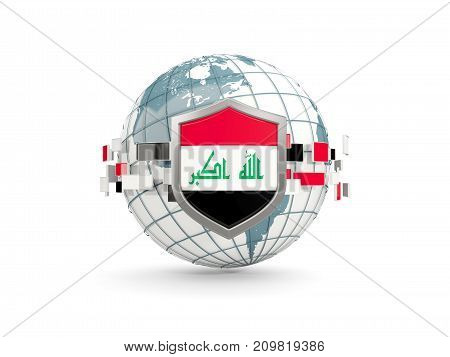 Globe And Shield With Flag Of Iraq Isolated On White