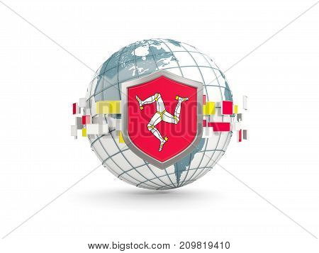 Globe And Shield With Flag Of Isle Of Man Isolated On White