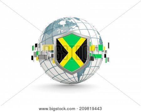 Globe And Shield With Flag Of Jamaica Isolated On White