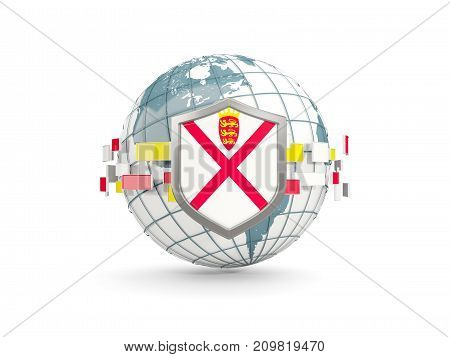 Globe And Shield With Flag Of Jersey Isolated On White