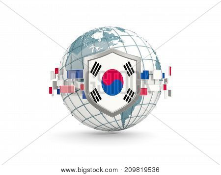Globe And Shield With Flag Of Korea South Isolated On White