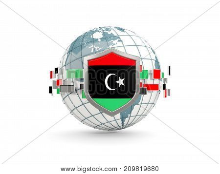 Globe And Shield With Flag Of Libya Isolated On White
