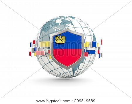 Globe And Shield With Flag Of Liechtenstein Isolated On White