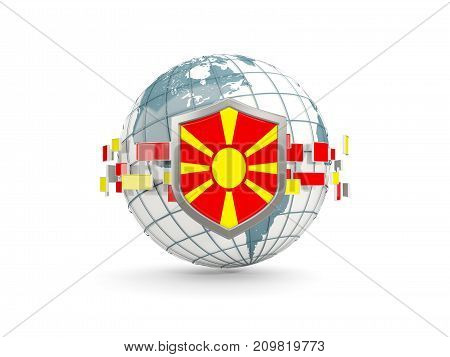 Globe And Shield With Flag Of Macedonia Isolated On White