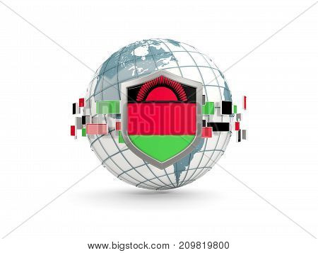 Globe And Shield With Flag Of Malawi Isolated On White