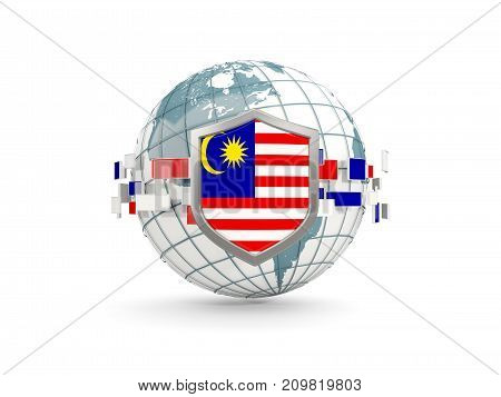 Globe And Shield With Flag Of Malaysia Isolated On White