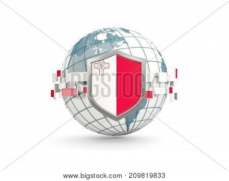 Globe And Shield With Flag Of Malta Isolated On White
