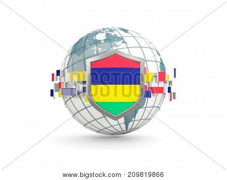 Globe And Shield With Flag Of Mauritius Isolated On White