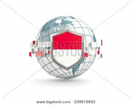 Globe And Shield With Flag Of Monaco Isolated On White