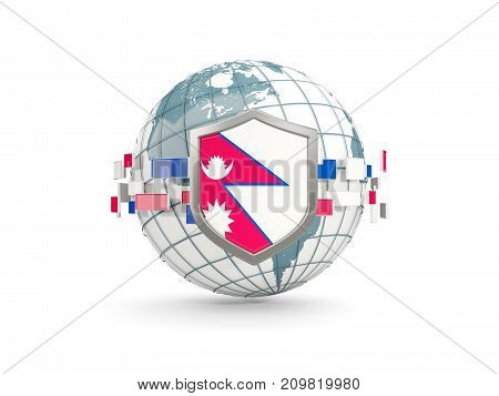 Globe And Shield With Flag Of Nepal Isolated On White