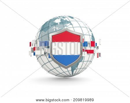Globe And Shield With Flag Of Netherlands Isolated On White