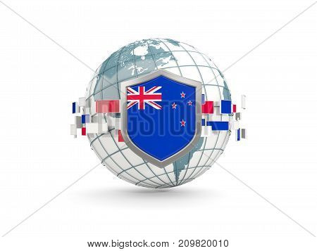 Globe And Shield With Flag Of New Zealand Isolated On White