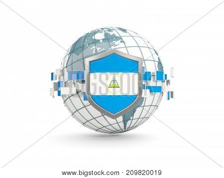Globe And Shield With Flag Of Nicaragua Isolated On White