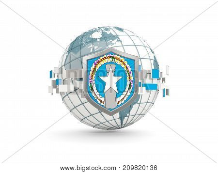 Globe And Shield With Flag Of Northern Mariana Islands Isolated On White