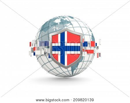 Globe And Shield With Flag Of Norway Isolated On White