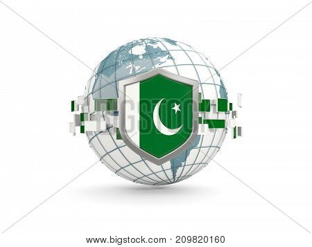 Globe And Shield With Flag Of Pakistan Isolated On White