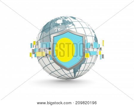 Globe And Shield With Flag Of Palau Isolated On White
