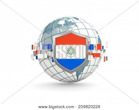 Globe And Shield With Flag Of Paraguay Isolated On White