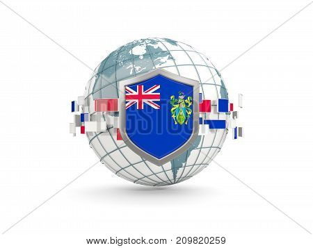 Globe And Shield With Flag Of Pitcairn Islands Isolated On White