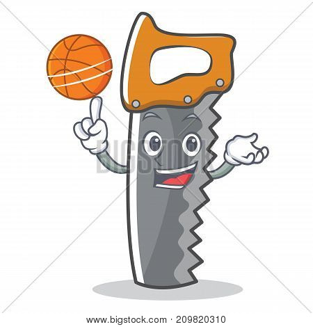 With basketball hand saw character cartoon vector illustration