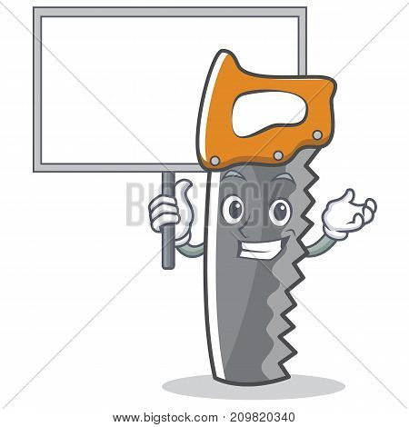 Bring board hand saw character cartoon vector illustration