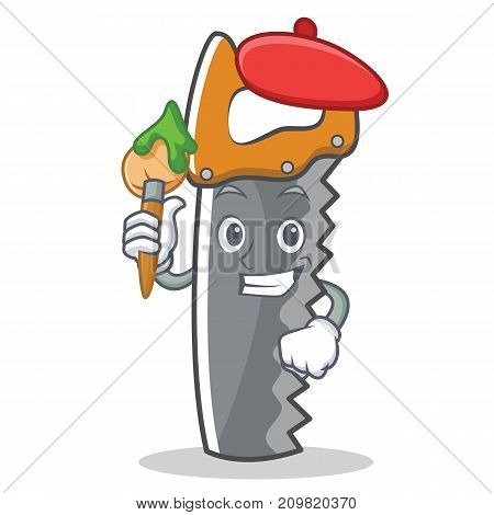 Artist hand saw character cartoon vector illustration