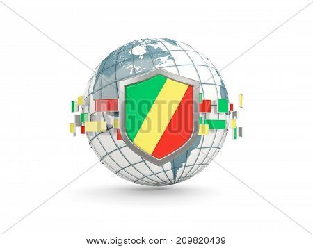 Globe And Shield With Flag Of Republic Of The Congo Isolated On White