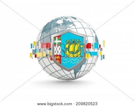 Globe And Shield With Flag Of Saint Pierre And Miquelon Isolated On White